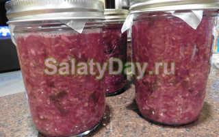 Вкусный салат на зиму из красной капусты