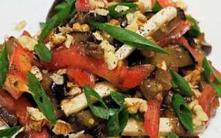 Салат баклажаны с помидорами и кинзой