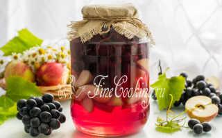 Как сварить компот из винограда и яблок