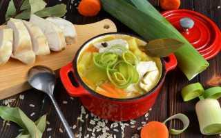 Суп с луком порей и курицей