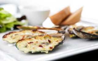 Мидии с сыром и чесноком в духовке