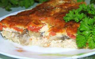 Запеканка картошка курица грибы сыр помидоры