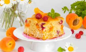 Заливной пирог с абрикосами на кефире